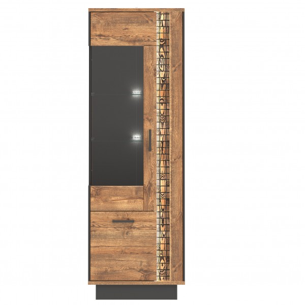 Dorian 2 Door Tall Display Cabinet with LED Lights (Left)