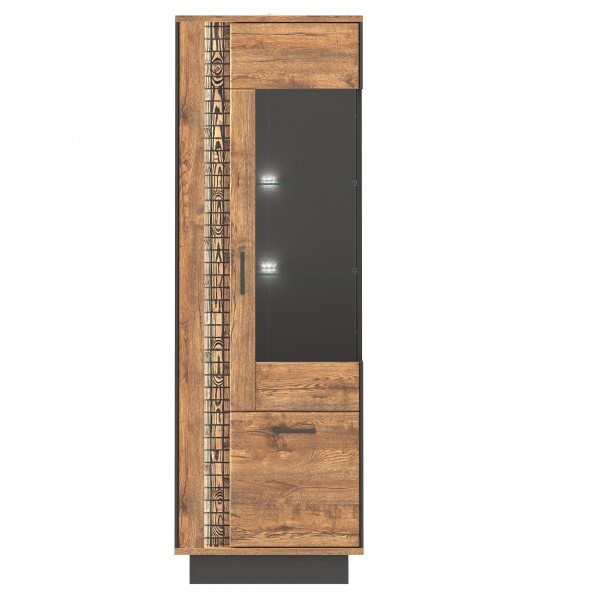 Dorian 2 Door Tall Display Cabinet with LED Lights (Right)