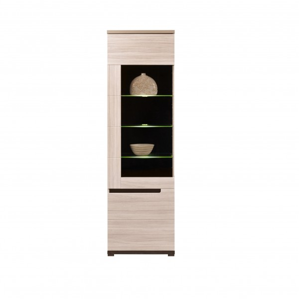 Denis Tall 2 Doors Display Cabinet with LED Lights