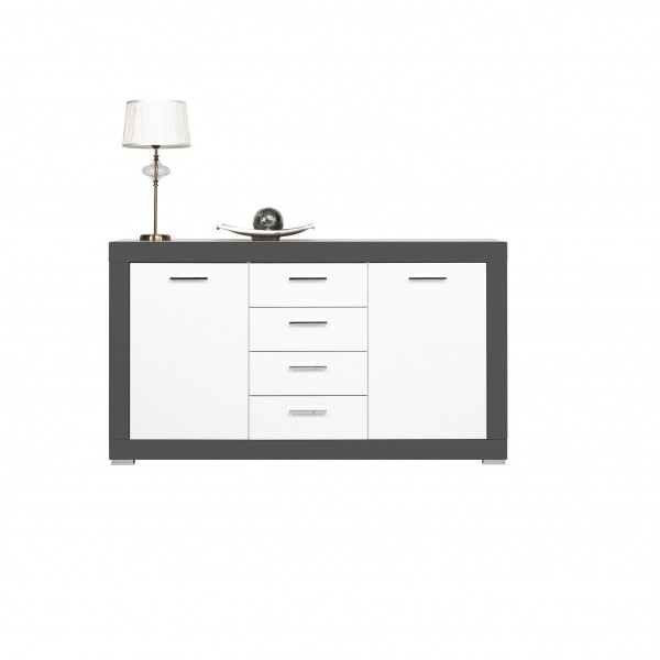 Grey 2 Doors Sideboard with 4 Drawers