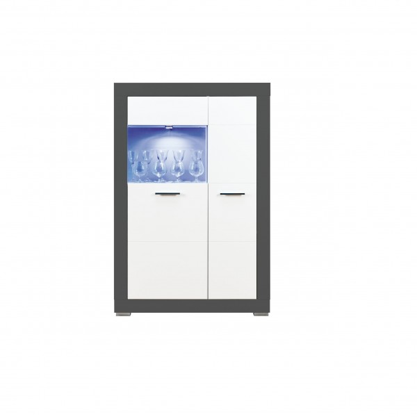Grey 2 Doors Display Cabinet with LED Lights