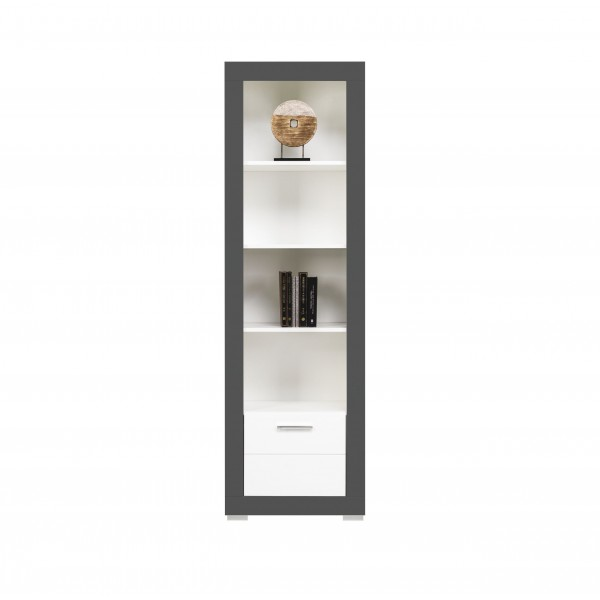 Grey Tall Bookcase with Drawer