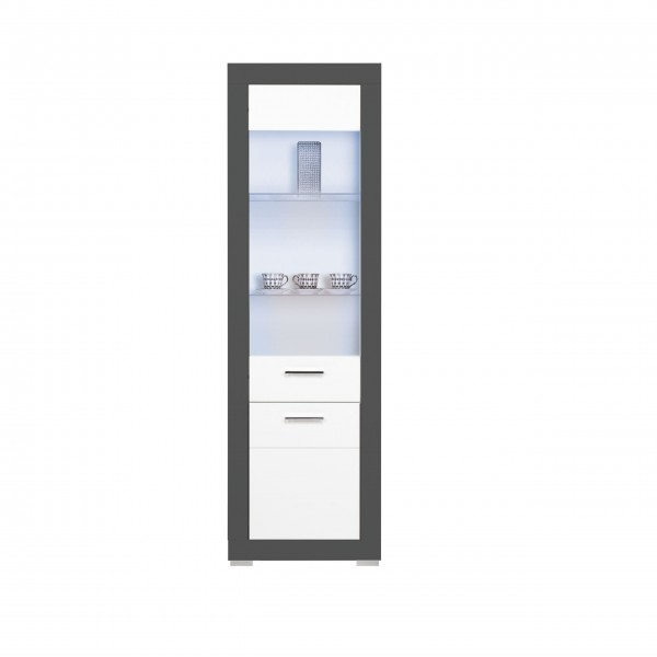 Grey 2 Doors Tall Display Cabinet with LED Lights