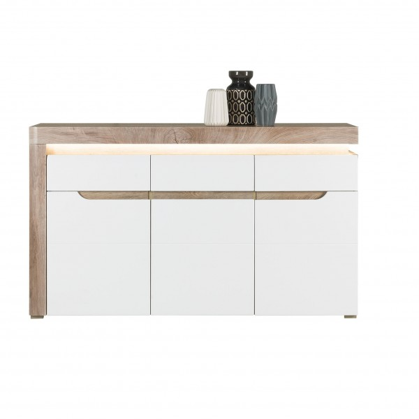 Irma White & Oak 3 Door Sideboard with a Drawer