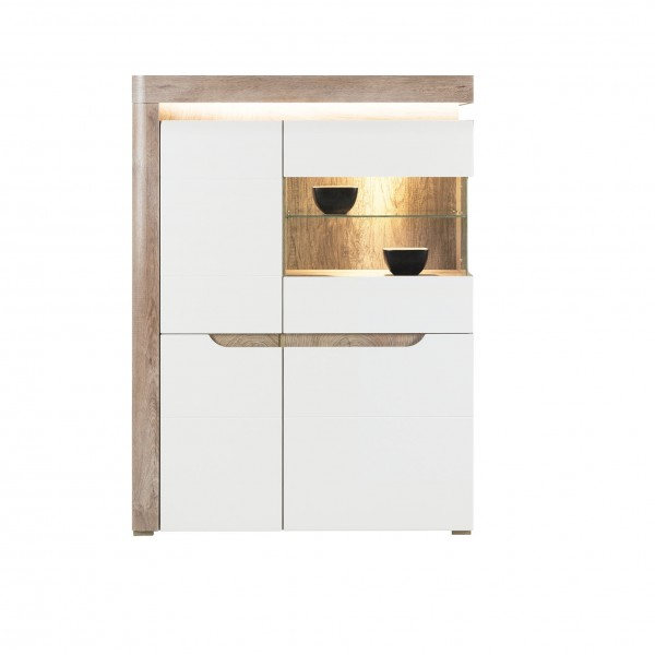 Irma White & Oak 3 Door Display Cabinet with LED Lights
