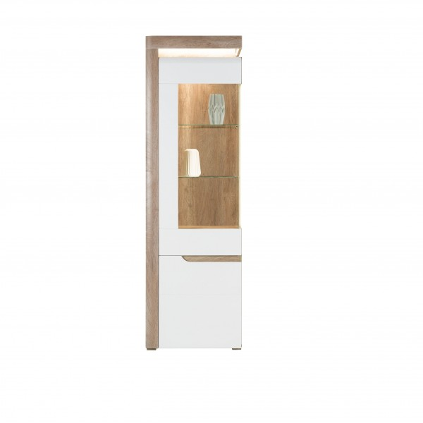 Irma White & Oak Tall Display Cabinet with LED Lights (Left)