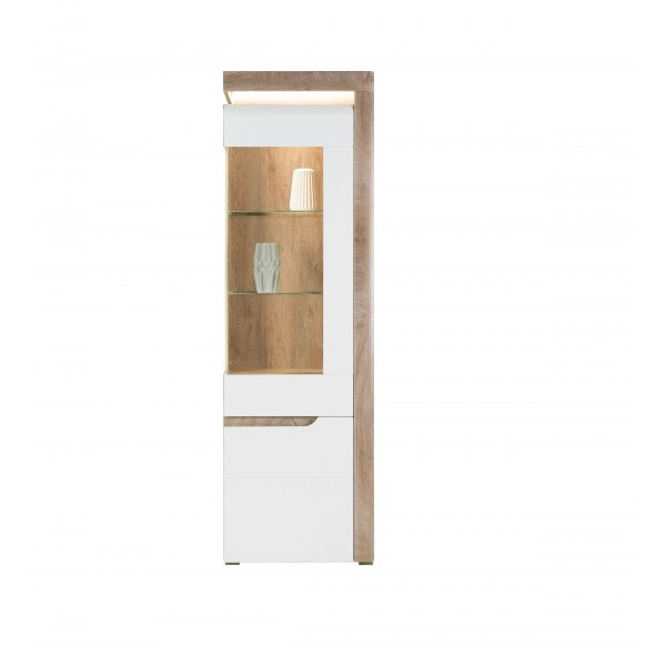 Irma White & Oak Tall Display Unit with LED Lights (Right)