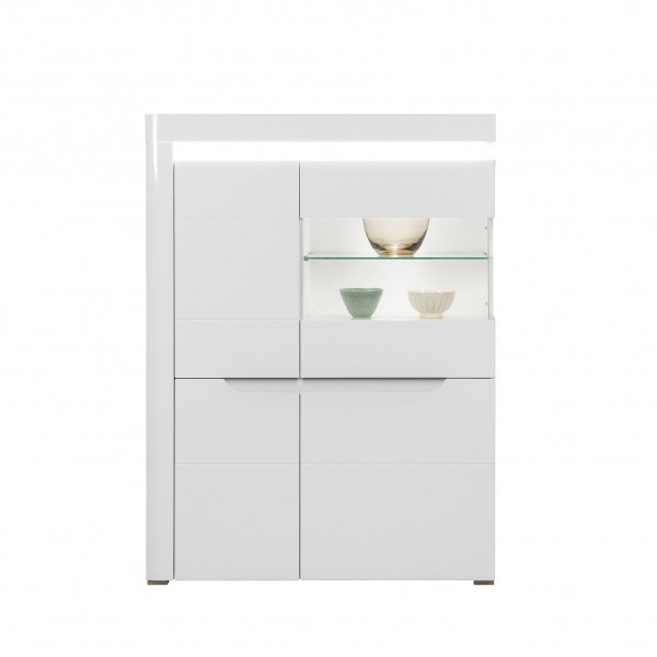 Irma White 3 Door Display Cabinet with LED Lights