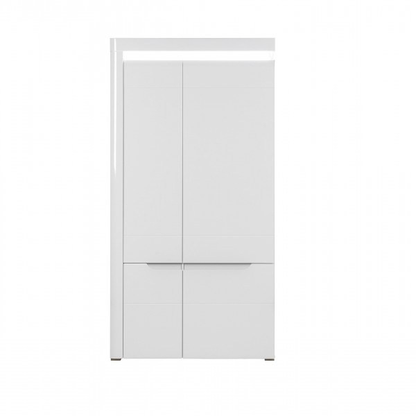 Irma White 2 Door Wardrobe with Shelves and 2 Hanging Rails