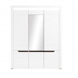 Irma White 3 Door Wardrobe with Mirror and LED Lights