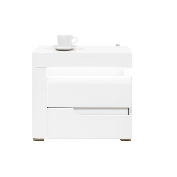 Irma White 1 Door Bedside Table with LEDs (Left)
