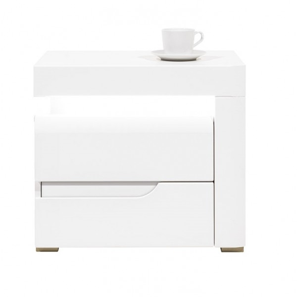 Irma White 1 Door Bedside Table with LEDs (Right)