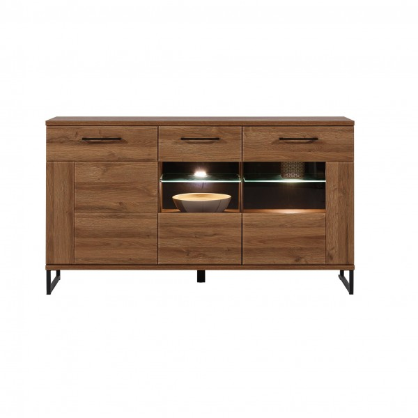 Ivo 3 Glass Door Sideboard with LED Lights