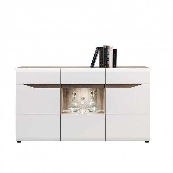 Lionel 3 Glass Doors Sideboard with LED's