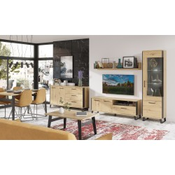Loft Sideboard with 3 Drawers in Artisan Oak with Black Details
