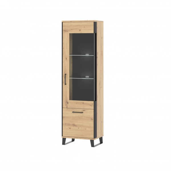 Loft Tall Right Glass Door Display Unit in Artisan Oak with Black Details