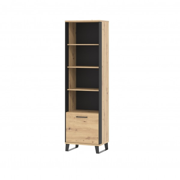 Loft Tall Bookcase in Artisan Oak with Black Details