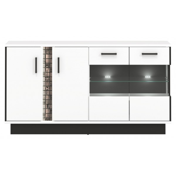 Marco 4 Glass Door Sideboard with LED Lights