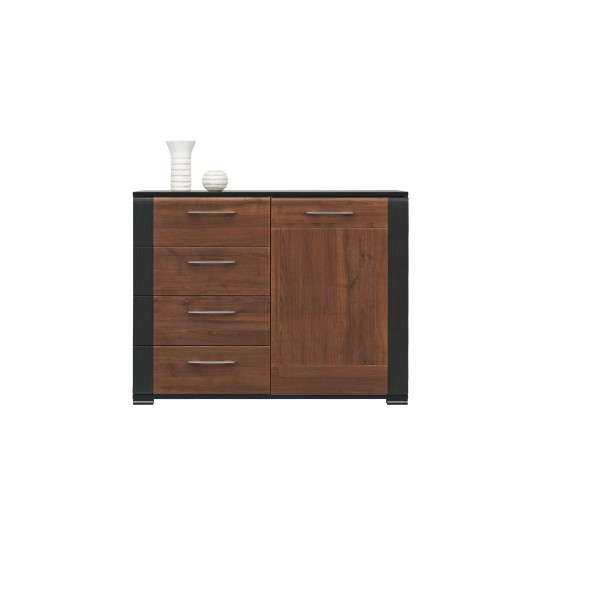 Naomi 1 Door Cupboard with 4 Drawers in Walnut and Wenge Colour