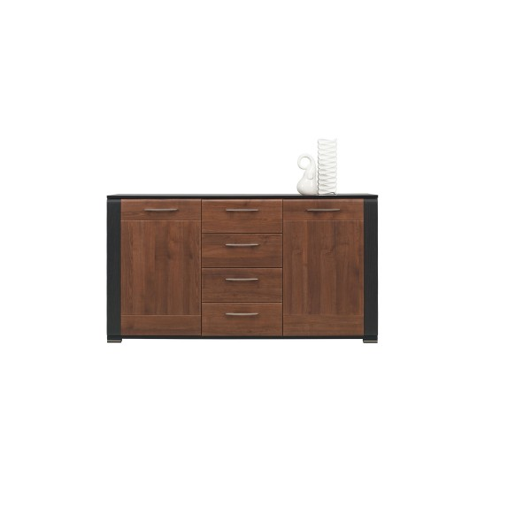 Naomi 2 Door Sideboard with 4 Drawers in Walnut and Wenge Colour