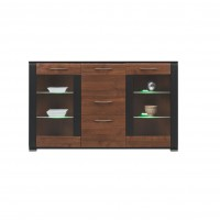 Naomi Glass Door Sideboard with a Drawer and LED Lights in Walnut and Wenge Colour
