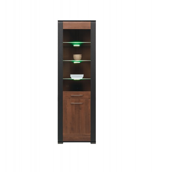 Naomi Tall Display Unit with LED Lights in Walnut and Wenge Colour