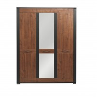 Naomi 3 Door Wardrobe with a Hanging Rail, Shelves and Mirror in Walnut and Wenge Colour
