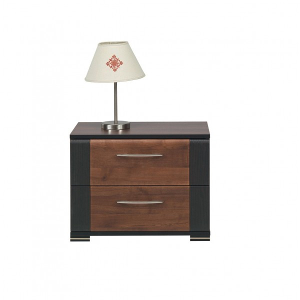 Naomi Bedside Table with 2 Drawers in Walnut and Wenge Colour