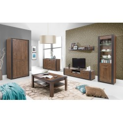 Naomi 2 Door TV Cabinet with a Drawer in Walnut and Wenge Colour