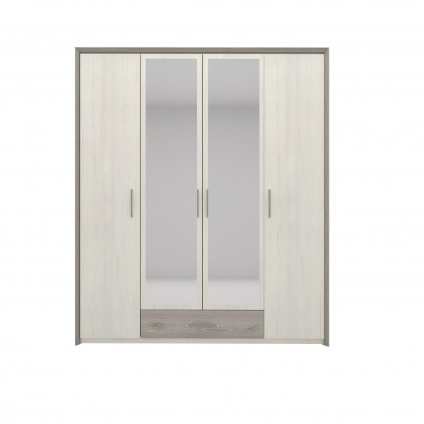 Sara 4 Door Wardrobe with 2 Hanging Rails, Shelves and a Drawer