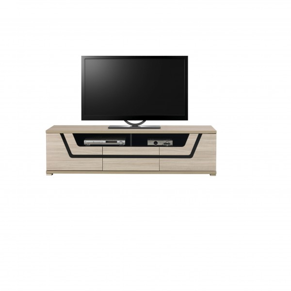 Tes 2 Door TV Unit with a Drawer in Elm Matt Colour with Push-To-Open System