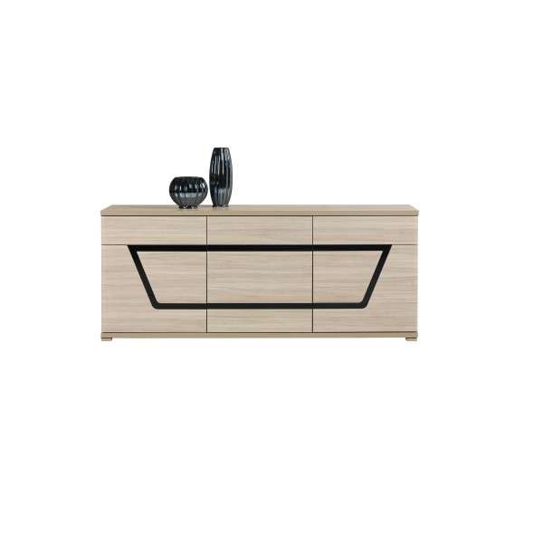 Tes 3 Door Sideboard with 2 Drawers in Elm Matt Colour with Push-To-Open System