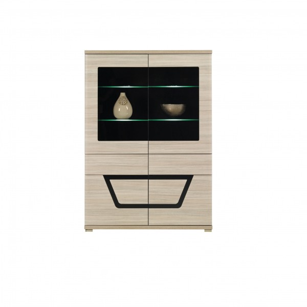 Tes Glass Door Display Cabinet with 2 Drawers in Elm Matt Colour with Push-To-Open System
