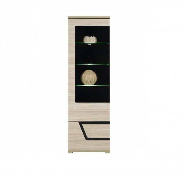 Tes Left Tall Glass Door Display Unit in Elm Matt with Push-To-Open System