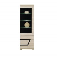 Tes Right Tall Glass Door Display Unit in Elm Matt with Push-To-Open System
