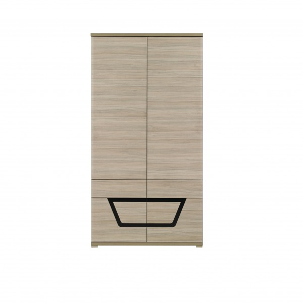 Tes 2 Door Wardrobe with a Hanging Rail in Elm Matt with Push-To-Open System