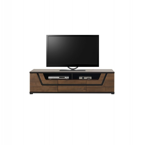 Tes 2 Door TV Unit with a Drawer in Walnut Colour with Push-To-Open System