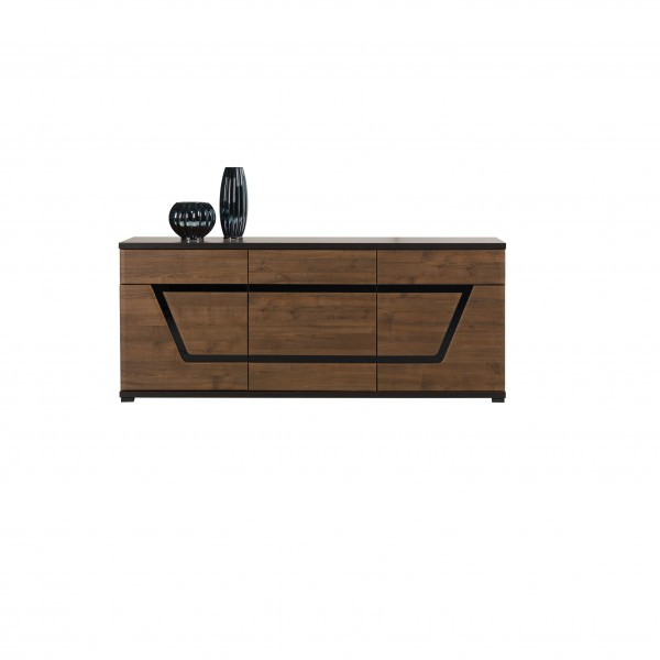 Tes 3 Door Sideboard with 2 Drawers in Walnut Colour with Push-To-Open-System