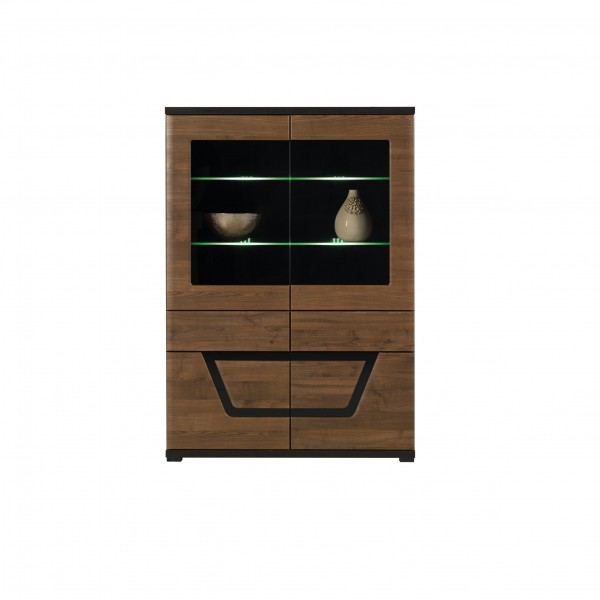 Tes Glass Door Display Cabinet with 2 Drawers in Walnut Colour with Push-To-Open System