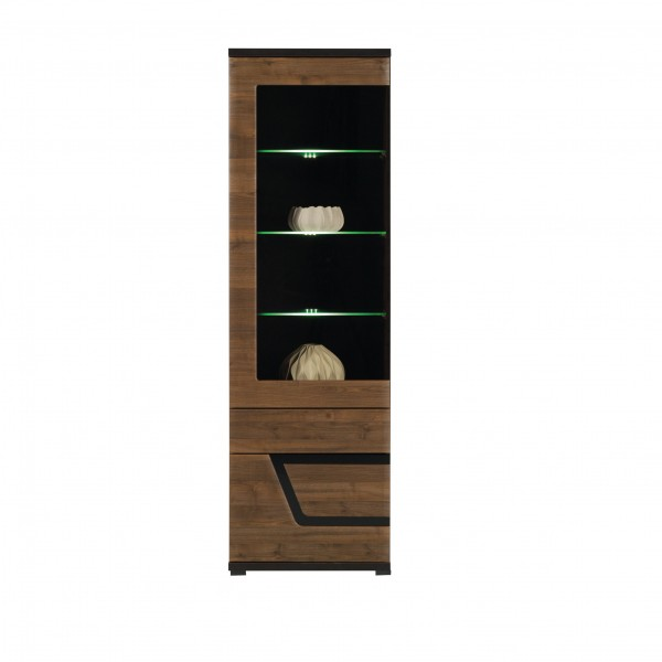 Tes Left Tall Glass Door Display Unit in Walnut with Push-To-Open System