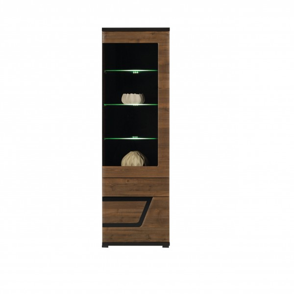 Tes Right Tall Glass Door Display Unit in Walnut with Push-To-Open System