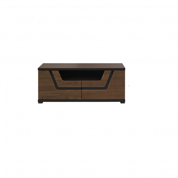 Tes 2 Door TV Unit in Walnut Colour with Push-To-Open System