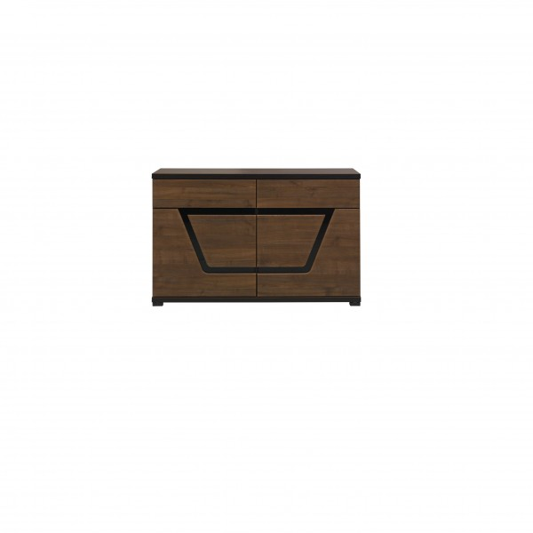 Tes 2 Door Cupboard with 2 Drawers in Walnut Colour with Push-To-Open System