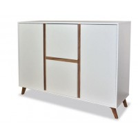 Trend Sideboard with 4 Drawers in White & Gold Oak