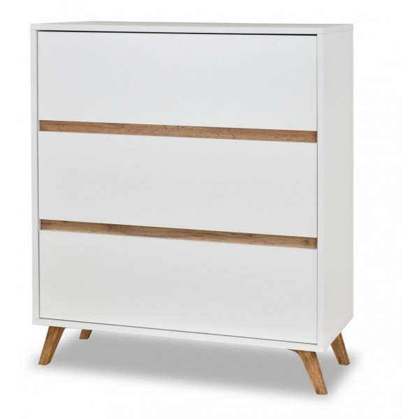 Trend Chest of 3 Drawers in White & Gold Oak Colour
