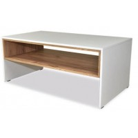 Trend Coffee Table with a Shelf in White & Gold Oak Colour