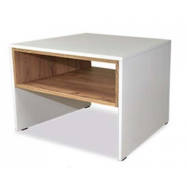 Trend Small Coffee Table with a Shelf in White & Gold Oak Colour