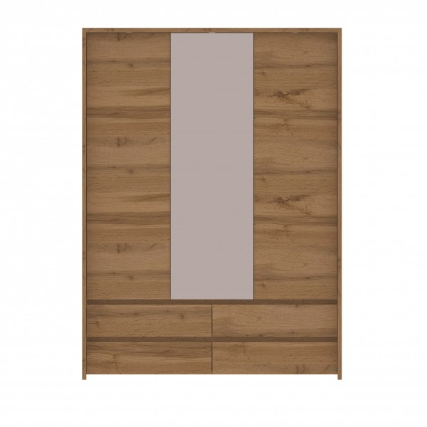 Tahoe 3 Door Wardrobe with a Hanging Rail, Shelves, Mirror and 4 Drawers