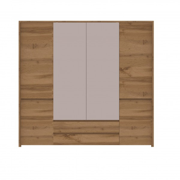 Tahoe 4 Door Wardrobe with a Mirror, 2 Hanging Rails, Shelves and 2 Drawers