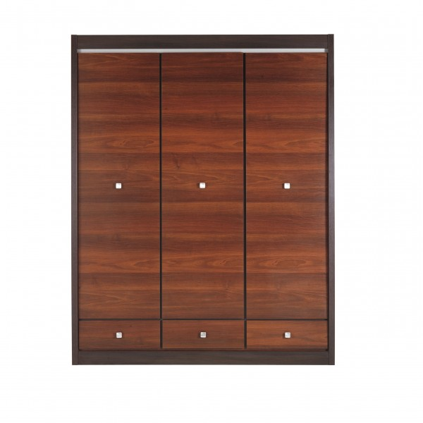 Forrest 3 Door Wardrobe with 3 Drawers, Shelves and a Hanging Rail
